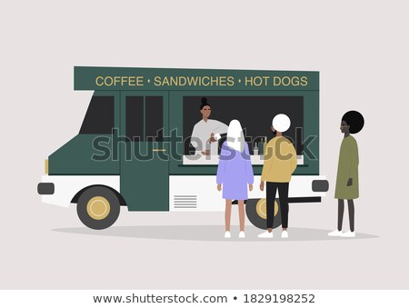 Coffee Shop, Truck with Woman Selling Beverage Stock photo © robuart