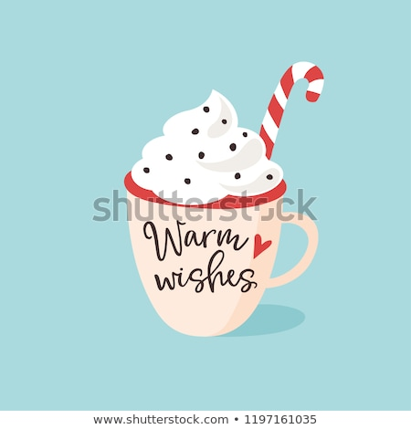 Hot chocolate and whipped cream cartoon hand drawn style Stock photo © amaomam