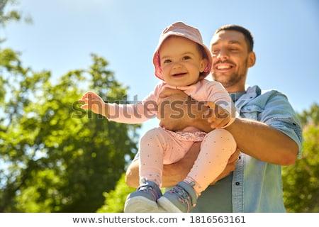 Baba küçük bebek kız aile babalık Stok fotoğraf © dolgachov