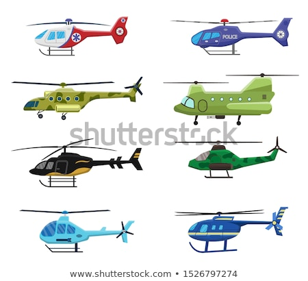 Military, police and medical helicopters icon set isolated on white background, air transport, aviat Stock photo © MarySan