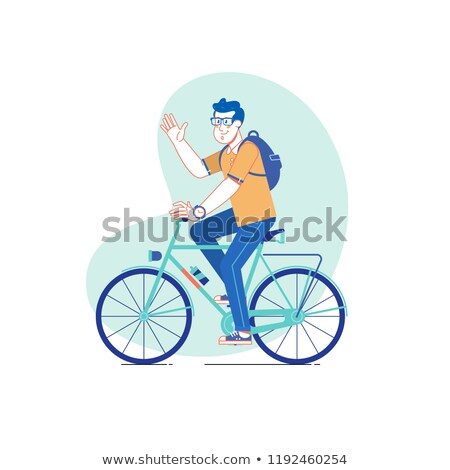 Cycler in City, Man on Bicycle, Transport Vector Stock photo © robuart