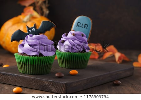 Scary dessert halloween chocolademousse partij Stockfoto © BarbaraNeveu