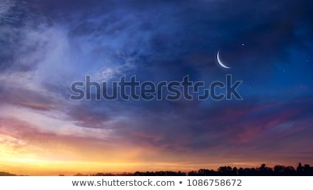 Beautiful sunset with a moon Stock photo © Anna_Om