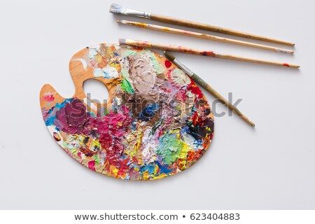 Variety of paintbrushes and palette with paints for professional painting Stock photo © pressmaster