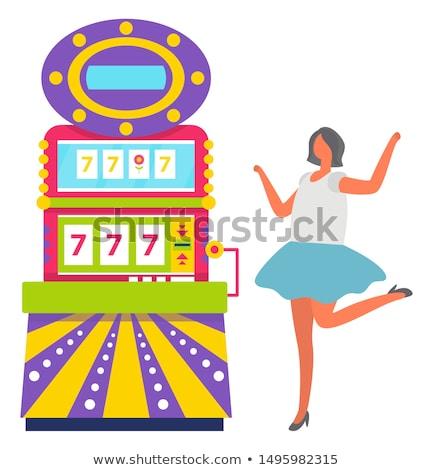 Menina azul saia jogar caça-níqueis vetor Foto stock © robuart
