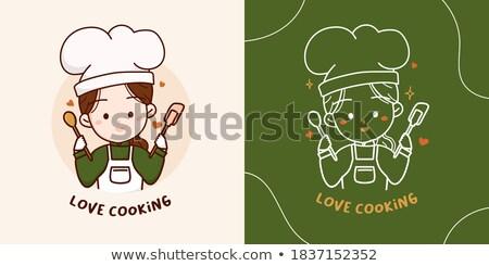 şef pişirmek fırıncı maskot el Stok fotoğraf © Krisdog