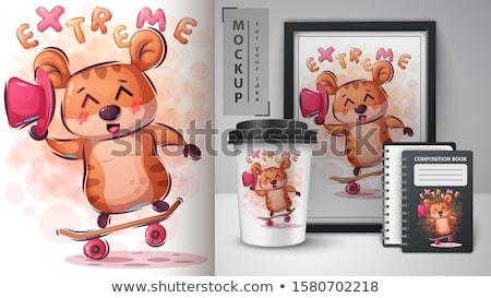 Hamster paten hile poster el çekmek Stok fotoğraf © rwgusev