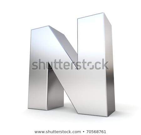 Brushed metal font Letter N 3D Stock photo © djmilic