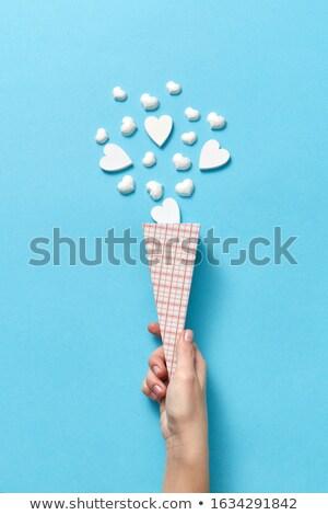 Valentijnsdag kaart papier kegel witte gips Stockfoto © artjazz