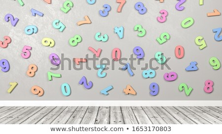 3D Colorful Numbers Against Wall in a Wooden Floor Room Stock photo © make