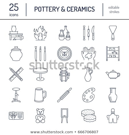 clay vase painting icon vector outline illustration Stock photo © pikepicture