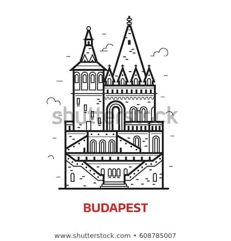 Castelo fachada ícone vetor ilustração Foto stock © pikepicture