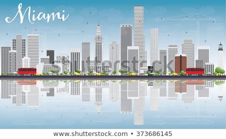Miami sziluett szürke épületek kék ég tükröződések Stock fotó © ShustrikS