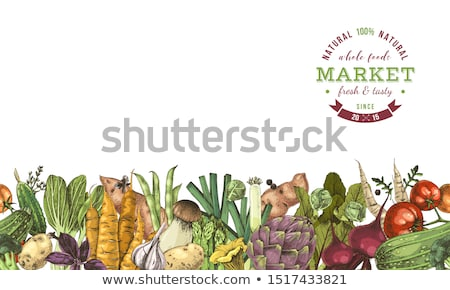 Vegetables Hand Drawn Market Menu Design Color Organic Food Poster Linear Graphic Healthy Food F Stock photo © mart