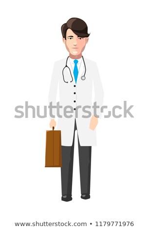 Orvos fehér köntös gyógyszer tok karakter Stock fotó © evgeny89