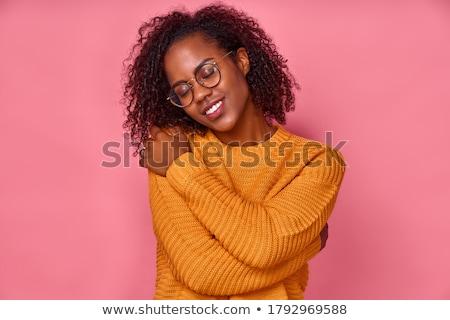 Retrato satisfeito alegre mulher cabelo escuro Foto stock © vkstudio