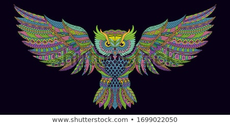 owl with moon vector stock photo © beaubelle