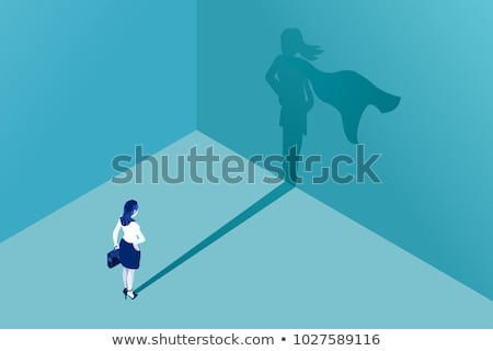 Szuperhős nő izometrikus ikon vektor felirat Stock fotó © pikepicture