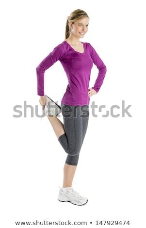 Постоянный · белый · фитнес · ног · осуществлять - Сток-фото © nickp37