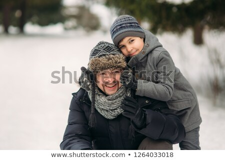 baby and child play on bench winter stock photo © paha_l