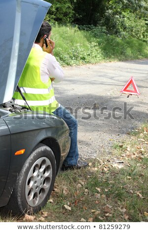 Man sat by car waiting for roadside assistance Stock photo © photography33