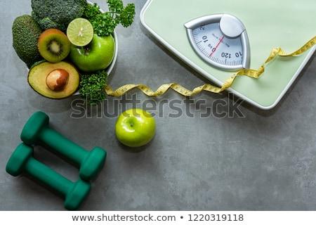 Gewicht Zeile weiß isoliert Hintergrund Metall Stock foto © Leonardi