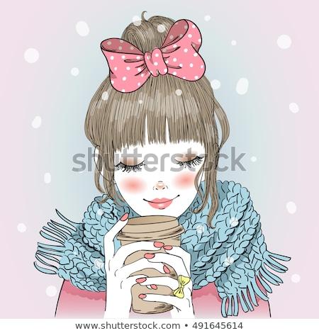 cute · thé · illustré · fille · visage · cheveux - photo stock © re_bekka