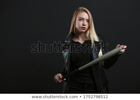 hermosa · jóvenes · dama · bate · manos · mujer - foto stock © acidgrey