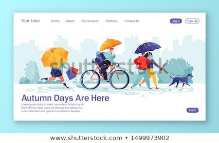 Empresario calle paraguas fondo lluvia caminata Foto stock © karelin721