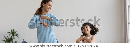 gülümseyen · kadın · afiş · bakıyor · beyaz · yalıtılmış - stok fotoğraf © Farina6000
