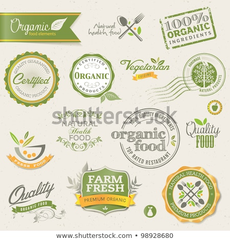 natural product and leaf sign - retro green label Stock photo © marinini