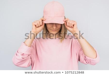 Nő visel baseballsapka gyönyörű nő sportruha boldog Stock fotó © piedmontphoto