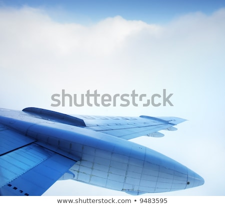 Aircraft wing detail flying high up Stock photo © lunamarina