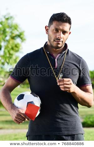 Retrato árbitro blanco fútbol camisa Foto stock © vankad