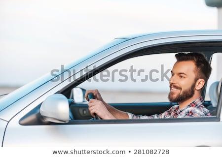 yandan · görünüş · adam · oturma · araba · boyama · beyaz - stok fotoğraf © zzve