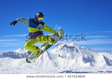 Snowboarding on Air Green Snowboard Stock photo © patrimonio