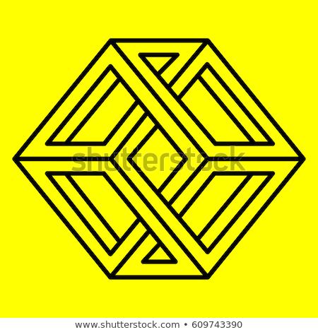 Illusie kubus logo vector gebouw vak Stockfoto © burakowski