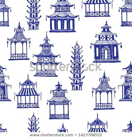 Pagoda chino lago sepia cielo agua Foto stock © Kurhan