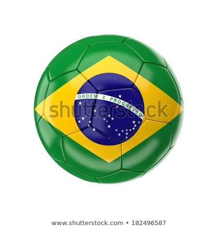 Futebol Brasil bandeira cinza 3d render futebol Foto stock © stevanovicigor