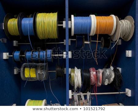 завода · дверей · два · синий · стены · промышленных - Сток-фото © fotoduki