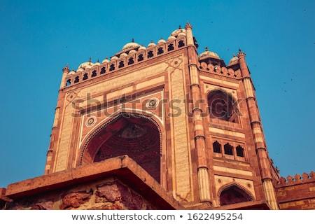 Moskee oude Delhi Indië beroemd hemel Stockfoto © meinzahn