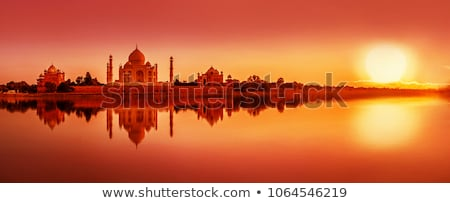 taj mahal from yamuna river in sunset Stock photo © meinzahn