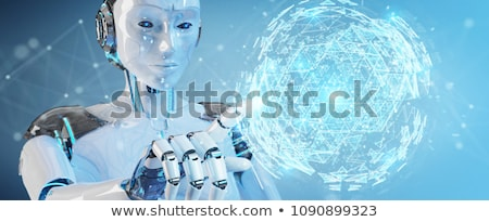 robot touching a digital virtual globe stock photo © kirill_m