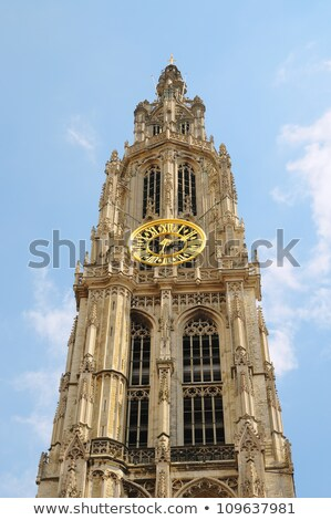 Details of asymmetric tower Cathedral Of Our Lady in Antwerp stock photo © anmalkov