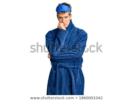 Cansado hombre túnica papel té taza Foto stock © gemenacom