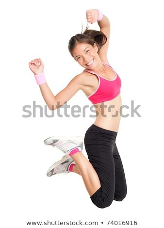 springen · actief · vrouw · gymnasium · boven · houten - stockfoto © konradbak