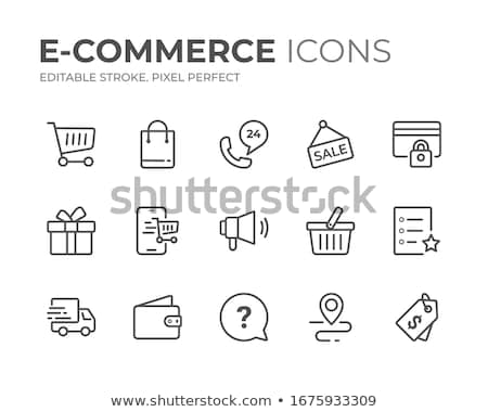 Ekereskedelem ikon szett vektor kék fényes webes ikonok Stock fotó © Mr_Vector