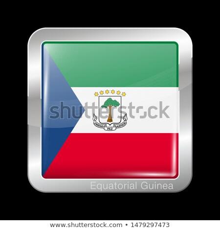 Praça metal botão bandeira Guiné Equatorial isolado Foto stock © MikhailMishchenko