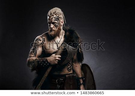 Vikingo hombre ilustración funny cuero casco Foto stock © adrenalina