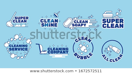 Vector graphic icon sticker set of cleaning and housekeeping wit Stock photo © feabornset